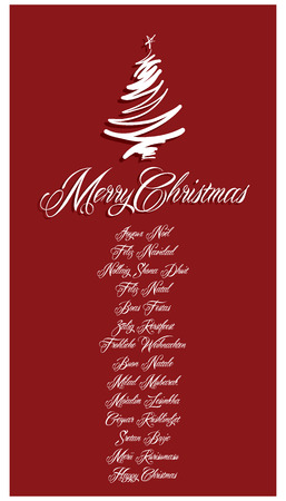 Red Merry Christmas Card all languages illustration 1 Vector