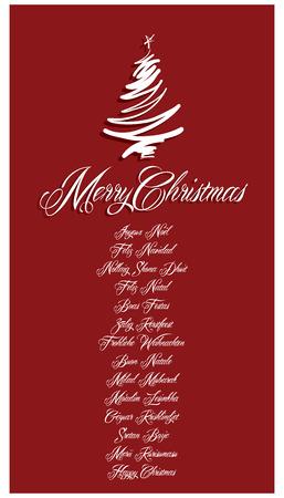 boas: Red Merry Christmas Card tutte le lingue illustrazione 1 Vettoriali
