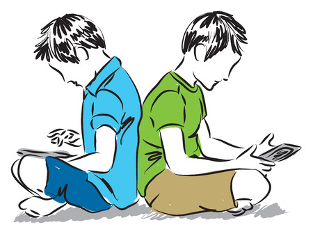 boys with tablets illustration Vector