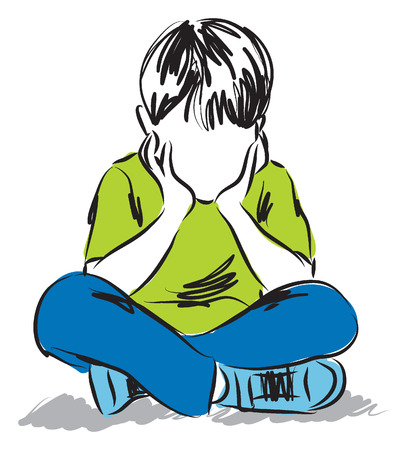 little Boy thinking illustration Illustration