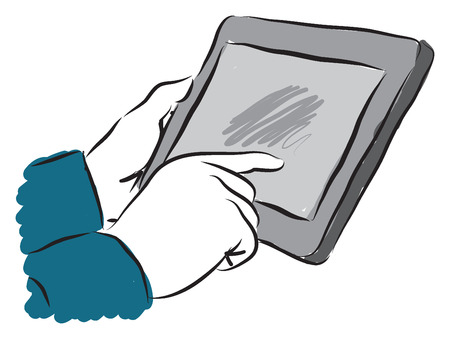 screen: man touching a tablet screen illustration
