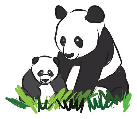 asian family: pandas illustration