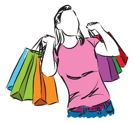shopping girl illustration Illustration