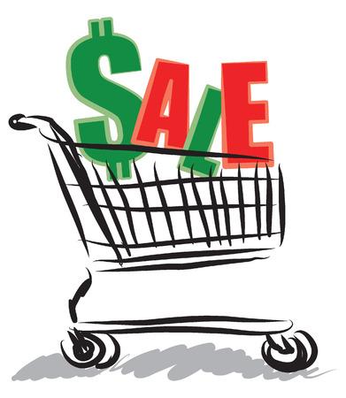 boas: shopping car x-mas sale illustration Illustration