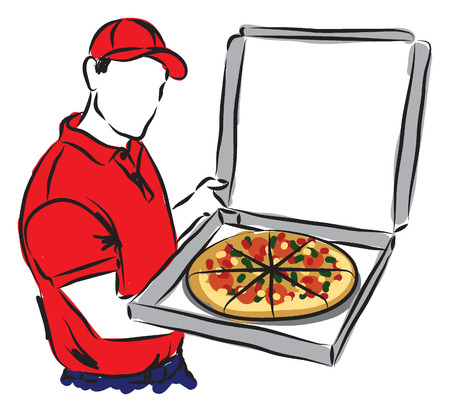 man working out: PIZZA DELIVERY MAN illustration copie Illustration