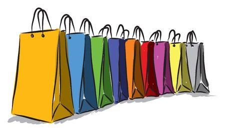 compras compulsivas: compras colores bolsas ilustración