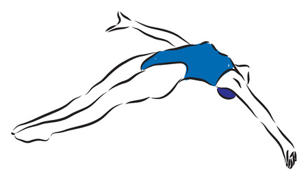 여자 수영 클리프트 다이빙 점프 그림 일러스트
