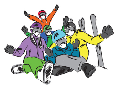 happy family ski illustration