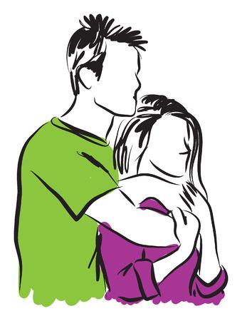 enamorados caricatura: Abrazos Pareja ilustración