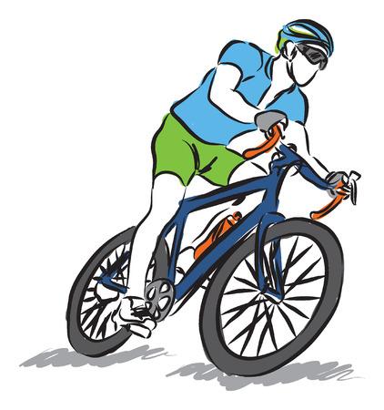 man riding a bike sport illustration Stock Illustratie