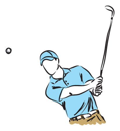 golf field: golfer golf player illustration Illustration