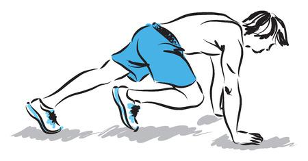 man athlete stretching exercises illustration Vector