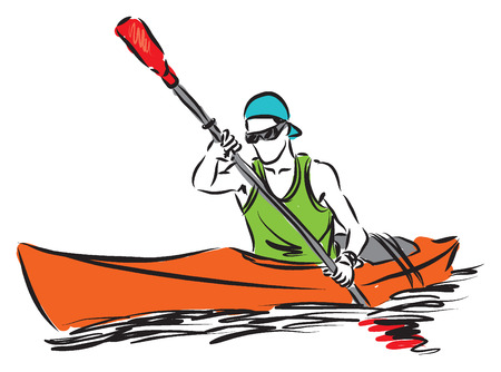 kayaking: man in a kayak sport illustration