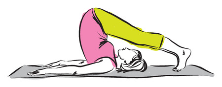 woman stretching yoga position illustration Vector