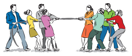 workers pulling a rope team work concept