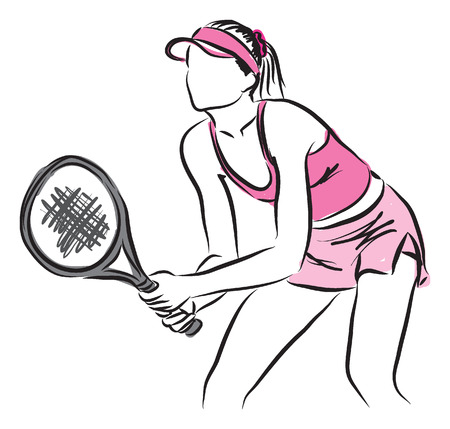tennis woman player illustration 矢量图像