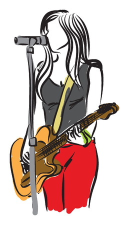 draws: singer illustration with a guitar illustration