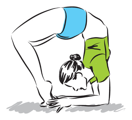women working out: woman stretching illustration