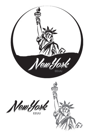 TURISTIC LABEL new York EEUU lettering illustration Vector