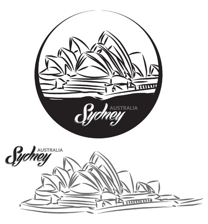 TURISTIC LABEL Sydney Australia lettering illustration