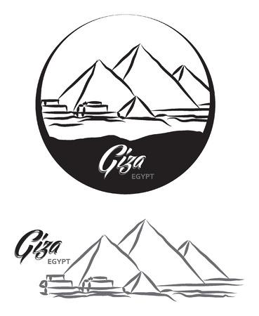 TURISTIC LABEL GIZA EGYPT lettering illustration