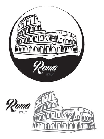 traditiional: TURISTIC LABEL Roma ITALY lettering illustration Illustration