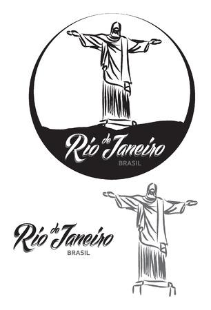 corcovado: TURISTIC LABEL Rio de Janeiro BRASIL lettering illustration
