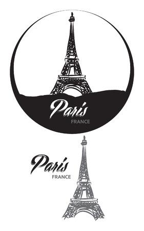 의 turistic 라벨 파리 프랑스 레터링 그림 일러스트