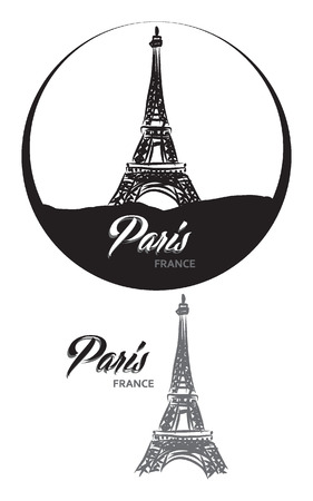 TURISTIC LABEL PARIS FRANCE lettering illustration Vector