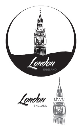 elizabeth tower: TURISTIC LABEL london ENGLAND lettering illustration Illustration
