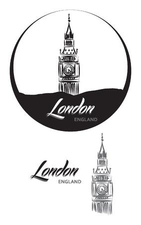 elizabeth tower: TURISTIC LABEL london ENGLAND lettering illustration Illustration