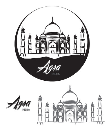 agra: TOURISTIC LABEL Agra India lettering illustration