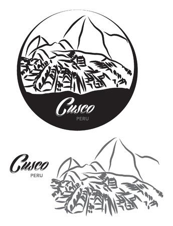 TOURISTIC LABEL Cusco Peru illustration Illustration