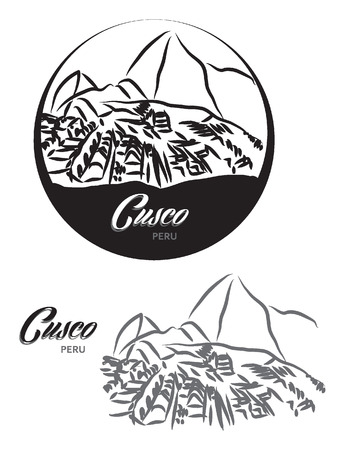 cuzco: TOURISTIC LABEL Cusco Peru illustration Illustration