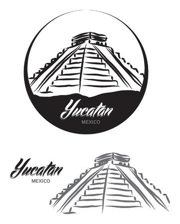 yucatan: TOURISTIC LABEL Yucatan Mexico illustration