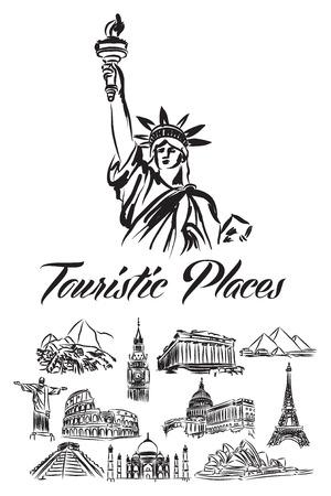 wereld toeristische illustratie plaatsen Stock Illustratie