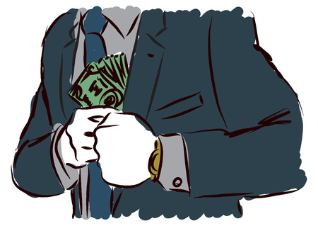 cash: businessman hidding cash illustration Illustration