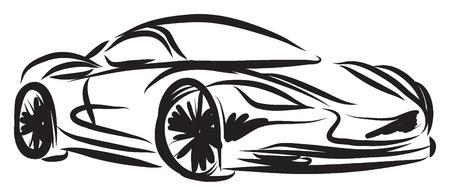 stylized racing car illustration Vettoriali