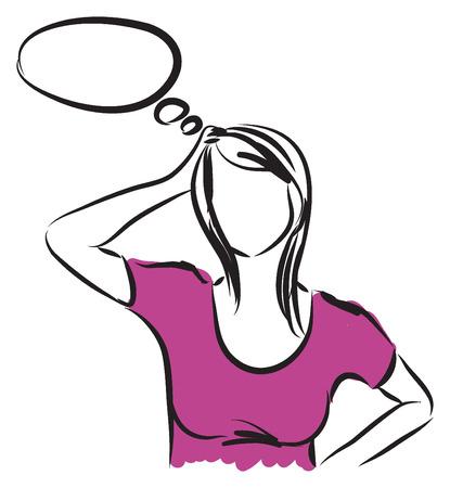 woman thinking illustration  イラスト・ベクター素材