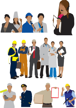 stock illustration: careers professional workers illustration