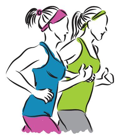 weight control: women jogging illustration