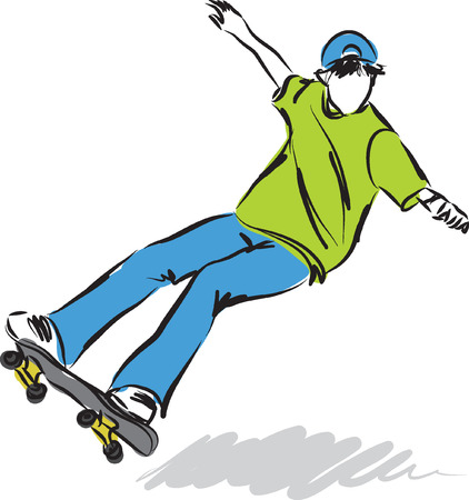 skate board: skateboard jump illustration