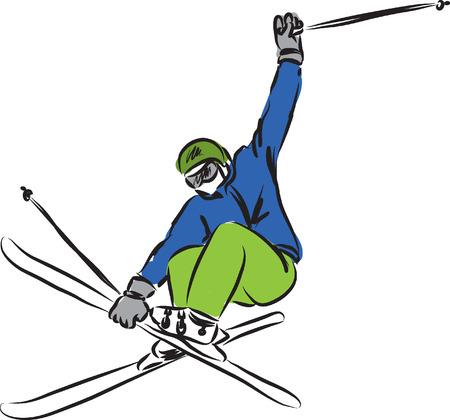 스키 점프 일러스트 레이션 일러스트