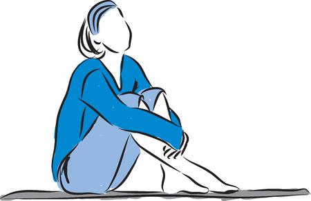 ontspannen vrouw zitten illustratie