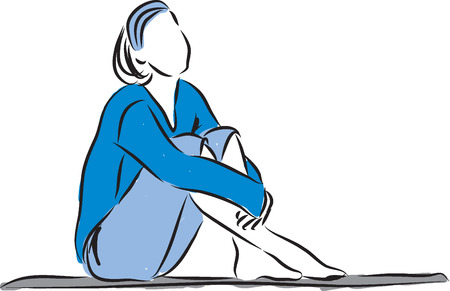 relax woman sitting down illustration