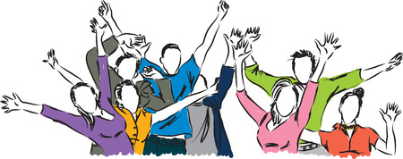 happy people illustration Vettoriali