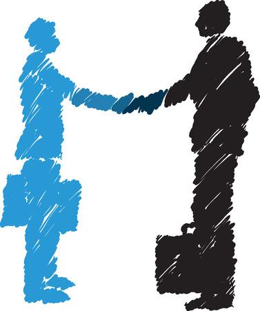 dandose la mano: hombres de negocios d�ndose la mano Business- ilustraci�n