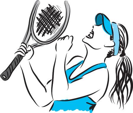 tennis racquet: tennis player 3 illustration Illustration