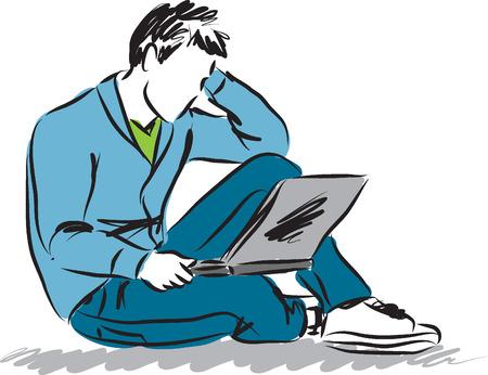 man with laptop illustration copie Vettoriali