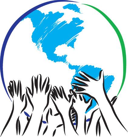 happy planet earth: tierra teniendo cuidado de manos ilustraci�n